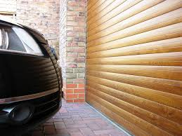 Golden Oak Insulated Roller Door close Up
