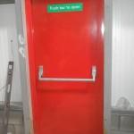 red exit door