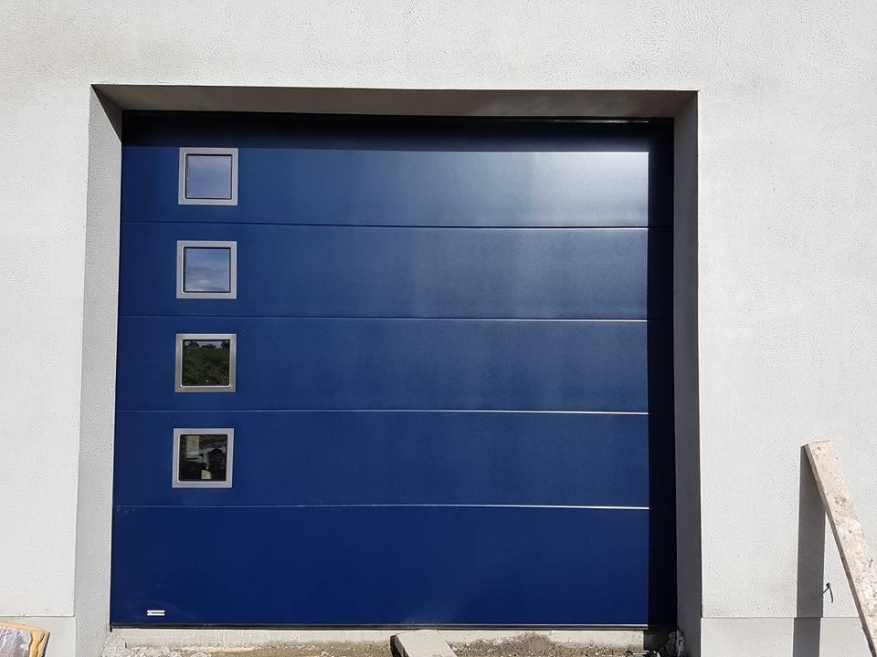 Flat Panel Sectional Door in Blue with optional windows
