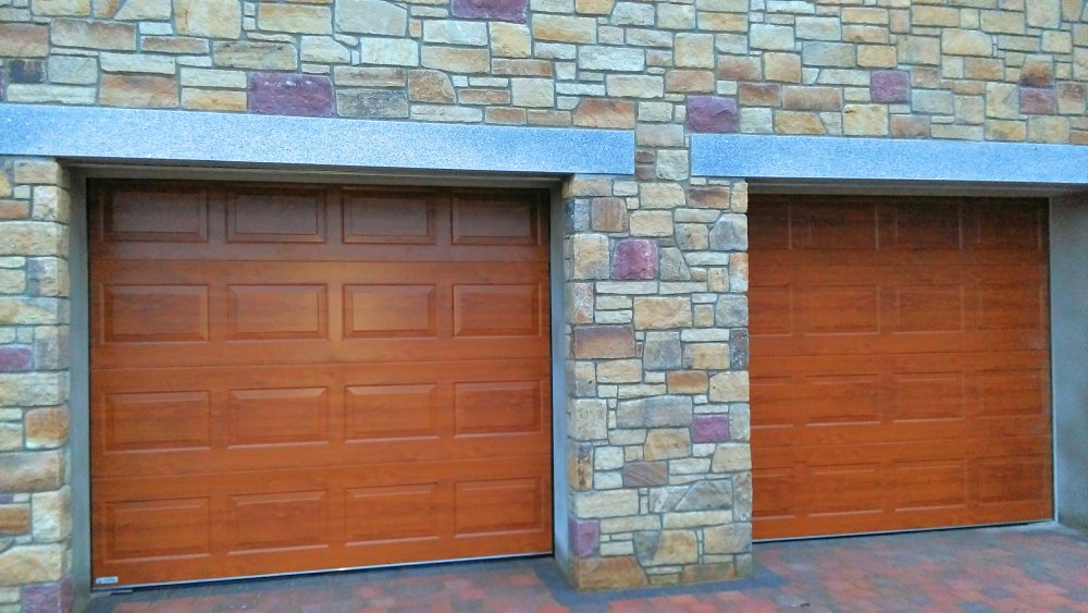 2 x Golden Oak Georgian Sectional doors
