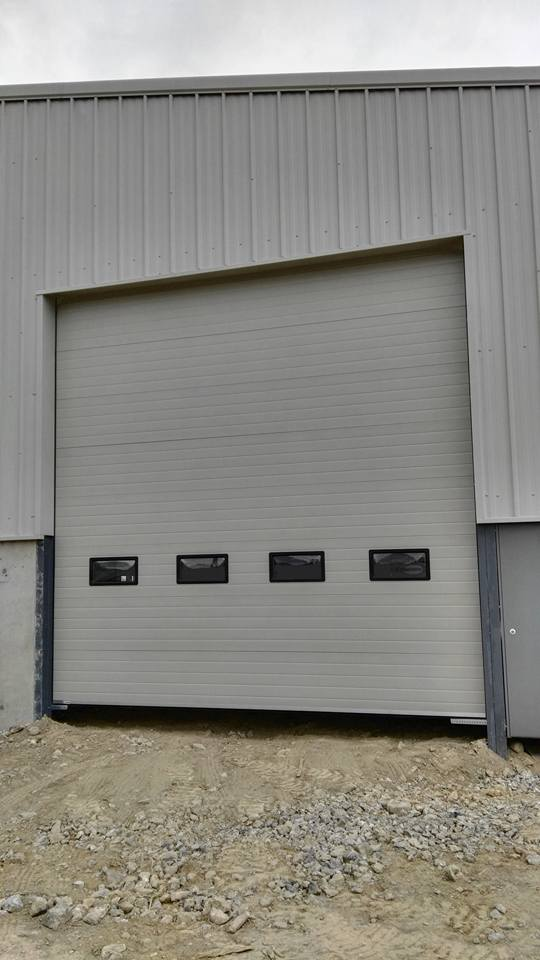 Front view of industrial sectional door